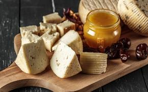 Картинка Сыр, Мед, Орехи