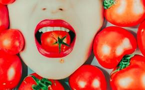 Обои рот, томаты, помада, девушка, помидоры