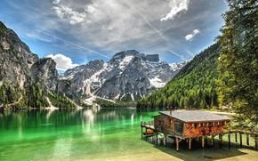 Картинка небо, пейзаж, горы, природа, озеро