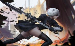 Картинка девушка, оружие, чулки, аниме, арт, nier, yorha unit no. 2 type b, nier: automata, ichao …