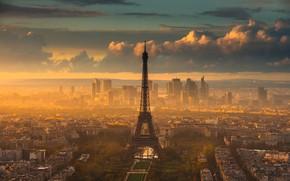 Картинка город, Франция, Париж, вечер