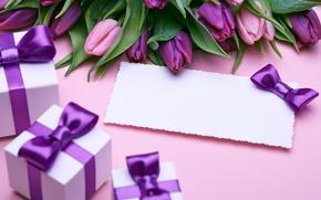 Обои букет, подарки, тюльпаны, love, бант, fresh, flowers, romantic, tulips, gift, purple