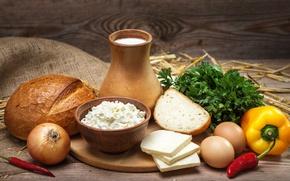 Обои pepper, лук, зелень, хлеб, сыр, яйца, cheese, продукты, творог, egg, молоко, bread, доска, milk, перец