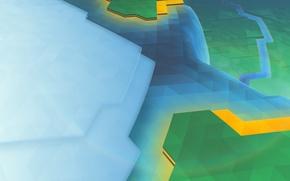Картинка Зеленый, Голубой, Абстракция, KDE, геометрические фигуры, Треугольники, Углы