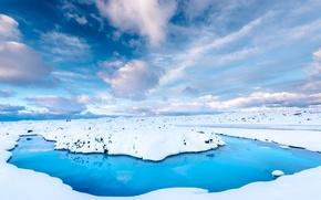 Обои зима, дорога, небо, вода, облака, снег, Исландия