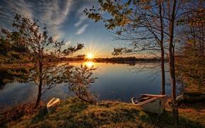 Картинка осень, закат, лодка, Норвегия, Norway, Rogaland, Vormedalsvatnet