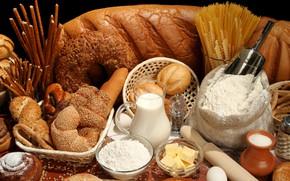Картинка масло, молоко, хлеб, булки, спагетти, мука, ассорти