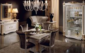 Обои кресло, зеркало, столовая, стол, цветы, интерьер, мебель, ваза