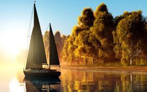 Обои осень, река, солнце, желтые, паруса, рассвет, берег, деревья, туман, яхта, 3D Графика, утро