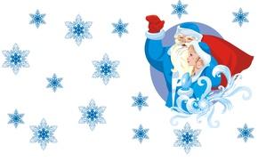 Картинка снежинки, настроение, праздник, вектор, арт, подарки, Новый год, Снегурочка, мешок, Дед Мороз