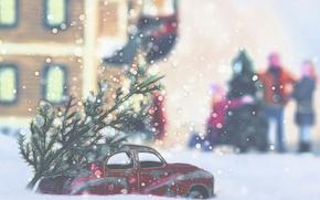 Картинка машина, город, праздник, ёлка