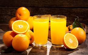 Обои цитрусы, апельсины, сок, стаканы, оранжевые, фрукты