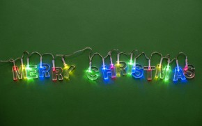 Картинка lights, Christmas, color, New Year, Merry Christmas, holiday, Christmas lights, simple background, light bulb