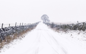 Картинка зима, дорога, снег, забор