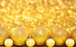 Картинка золото, шары, игрушки, новый год