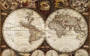 Обои Фредерик де Вит, путешествия, 1665-й год, карта мира, география