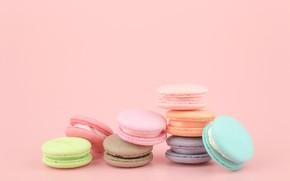 Обои colorful, десерт, pink, пирожные, сладкое, sweet, dessert, macaroon, french, macaron, макаруны