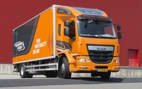 Картинка оранжевый, стена, фургон, DAF, ДАФ, 2016, бортовая платформа, 4х2, Euro6, DAF LF 320 FA