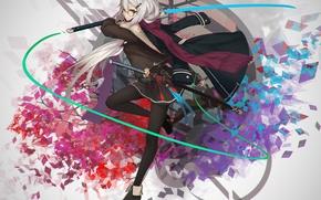 Картинка взгляд, девушка, меч, аниме, арт, очки
