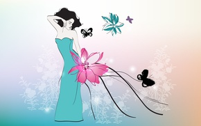 Обои цветок, бабочки, девушка, платье