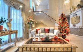 Обои столик, Рождество, праздник, елка, Новый Год, диван, гостиная
