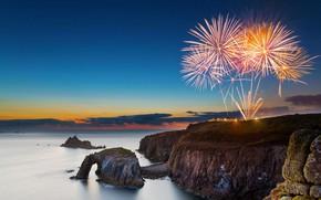 Обои скалы, море, Корнуолл, салют, Англия, фейерверк, Land's End, праздник