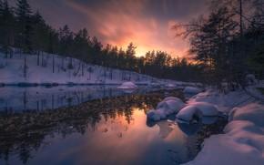 Картинка снег, река, Норвегия, Norway, Ringerike