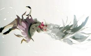 Картинка крылья, серый фон, белые волосы, art, Touhou Project, Проект Восток, No-kan, Kishin Sagume
