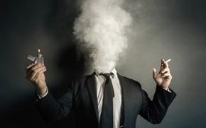 Обои дым, сигарета, зажигалка, человек