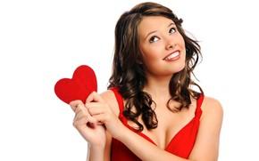 Картинка девушка, поза, улыбка, красное, сердце, макияж, платье, прическа, мечтает, белый фон, шатенка, красивая, в красном, …