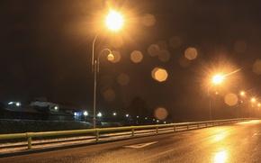 Картинка дорога, асфальт, пейзаж, Ночь, фонари