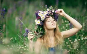 Картинка девушка, цветы, настроение, Alina, луг, венок