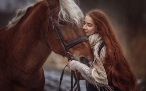 Обои Анюта Онтикова, длинные волосы, рыжеволосая, настроение, девушка, рыжая, лошадь, конь