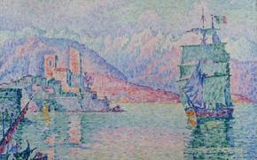 Картинка корабль, картина, парус, морской пейзаж, Поль Синьяк, пуантилизм, Антиб. Вечер