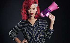 Обои певица, Rihanna, мегафон, красные волосы