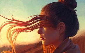 Картинка Girl, Light, Red, Sun, Hair, Hear