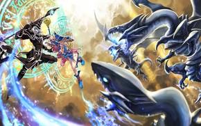 Картинка дракон, аниме, арт, девочка, сражение, yu-gi-oh