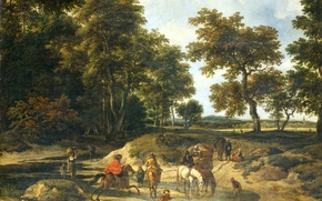 Обои пейзаж, Якоб ван Рёйсдал, масло, холст, Дорогу!, картина