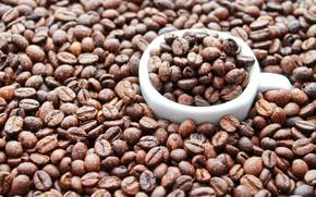 Картинка настроение, кофе, зерна, кружка, капли воды, coffe, coffe time, Кофе в зернах