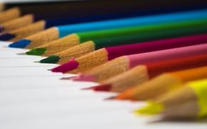 Картинка краски, карандаши, ряд, рисование, грифель