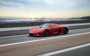 Обои Regera, закат, Koenigsegg, гиперкар, море, суперкар, скорость, red
