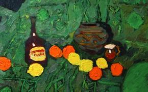 Картинка яблоки, 2008, натюрморт, зелёный фон, Петяев, merlot, лмоны