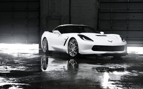 Картинка white, corvette, chevrolet, Wheels, stingray, Niche