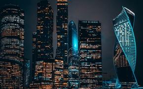 Обои город, вечер, ночь, Москва сити, огни