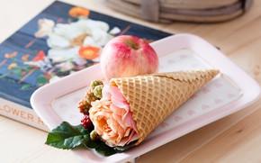 Картинка роза, яблоко, книга, рожок, вафли