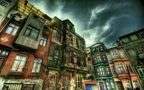 Картинка HDR, Улица, Стамбул, Турция, Street, Istanbul, Turkey, Old building
