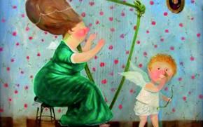 Картинка ангел, Гапчинская, игра на арфе