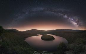 Картинка ночь, река, звездное небо