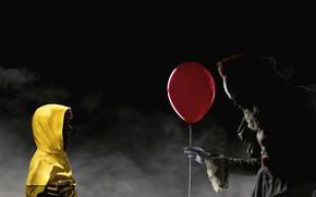 Обои постер, ребёнок, капюшон, куртка, Оно, шарик, ночь, Pennywise, красный, ужасы, клоун, жёлтая, туман, Bill Skarsgård, ...
