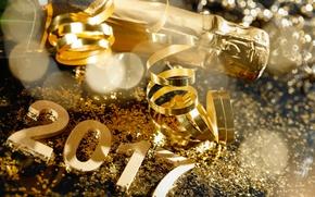 Картинка Новый Год, gold, new year, шампанское, happy, серпантин, champagne, 2017